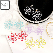 XZP 2019 Woven Ice Fower Earrings Purple Pink Simple Temperament Personality Exaggerated Hollow Out Large Flower Petals