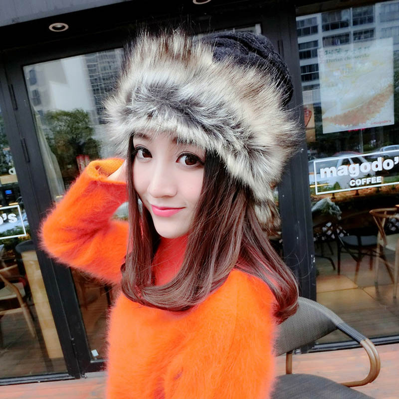 Collar dual-purpose knitted hat real mink fur knitting hat slices winter cap women girl cotton wool hat Skullies thick bonnet han edition spot qiu dong the day han2 ban3 girl gradient fashionable joker knitting wool hat