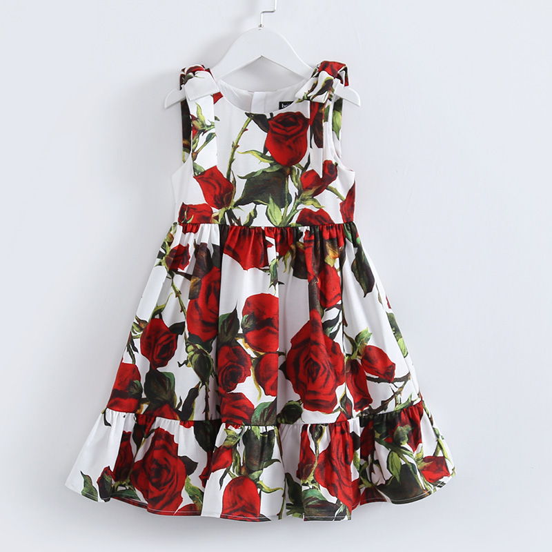 Summer new children clothing kids sleeveless rose flower print 100-160cm girls holiday big hems sundress girl casual beach dress футболка print bar summer flower