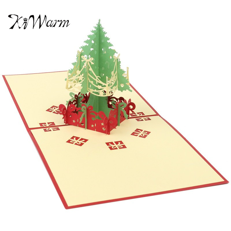 Hot sale kiwarm fashionable 3d merry christmas tree greeting cards kiwarm fashionable 3d merry christmas tree greeting cards birthday party invitations card handmade paper crafts christmas gifts m4hsunfo