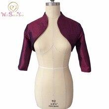 Burgundy Women Shrugs Taffeta Party Bolero Evening Jackets Bridal Capes 3/4 Long Sleeves Wedding Jacket Custom Made