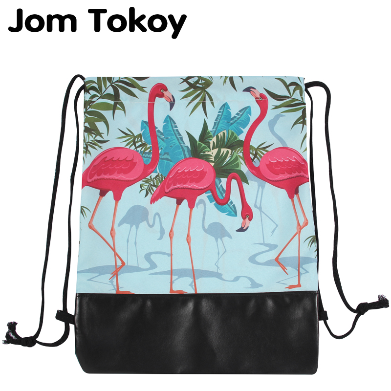 Jom Tokoy 3D Printing Flamingo Pattern Women Drawstring Bag 2018 New School girls Drawstring backpacks цены