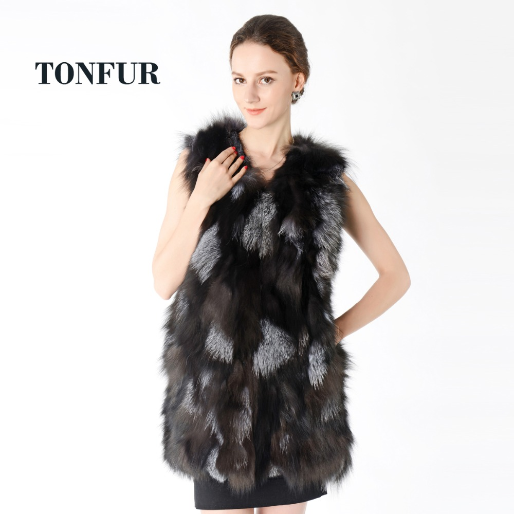New Fox Fur Long Vest Factory Top Sell Hot Real Fox Fur Gilet Women Natural Real Fox Fur Vest DNT625