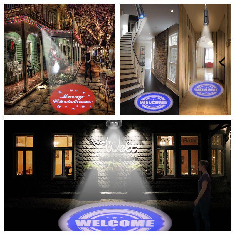 LED Advertising Lamp Welcome Logo Projector Lamp LED Spotlight E27 Bar Hotel Door Night Led Lamp E27