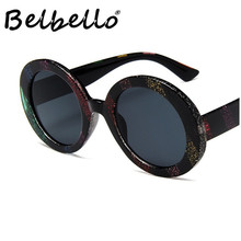 Belbello New European and American fashion sunglasses Men round frame Women street photography vintage glasses