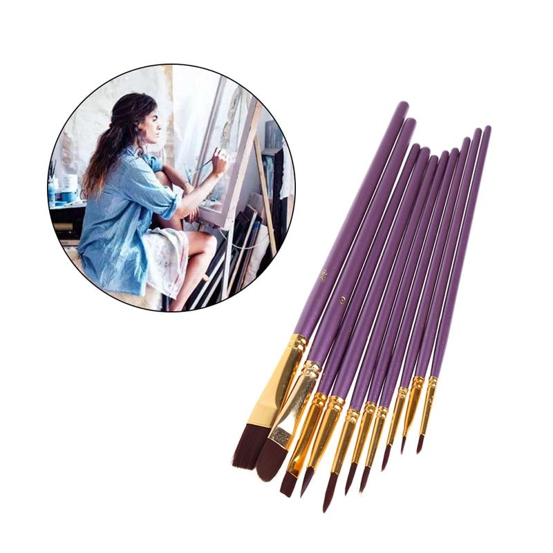 10Pcs/Bag  Artist Paint Brush Set Nylon Hair Watercolor Acrylic Oil Painting Drawing