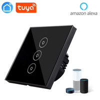 tuya app EU Wifi Switch, 3 Gang Smartlife APP Control Light Interruptor, Alexa Google Compatible Glass Smart Home Switch