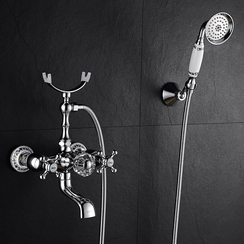 Robinet de douche à effet pluie pour salle de bain en cuivre robinet de douche mural chromé à main robinet mitigeur d'eau chaude et froide