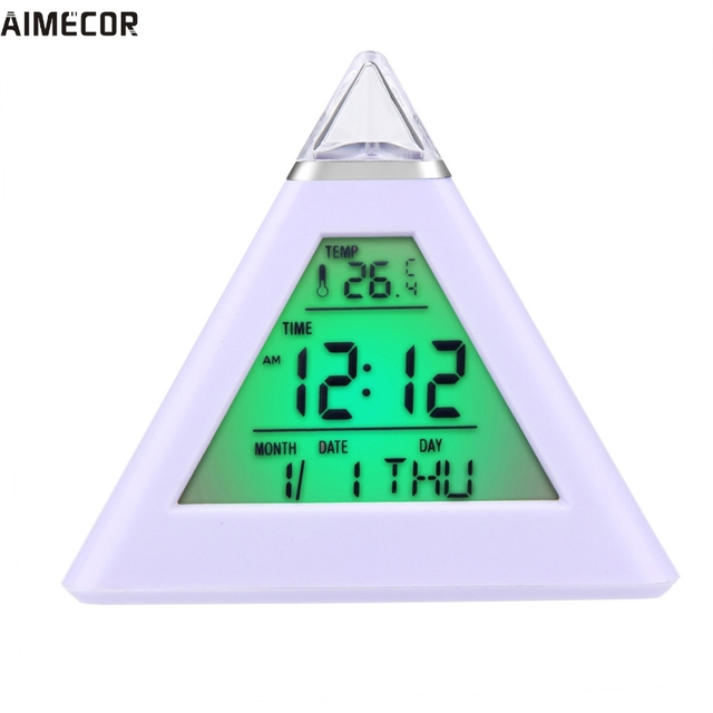 1PC Happy Gifts Amazing LED Piramide Digital Fashion Creative Smart Clock LED Snooze Alarm Calendar Temperature