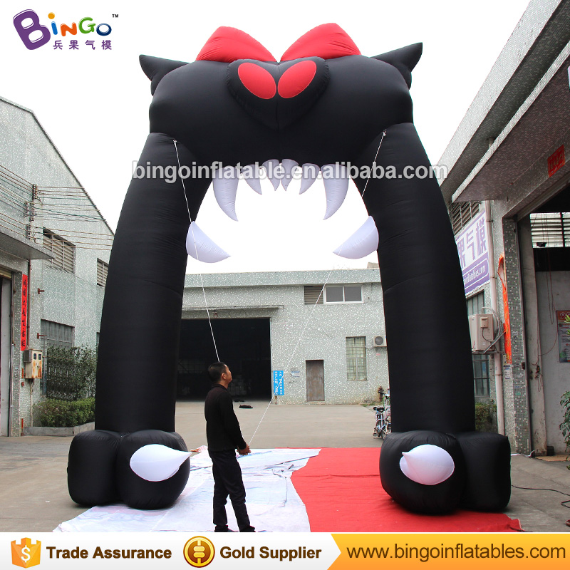 GOOD HANDWORK 5X6MH inflatable black cat mouth archway air blow up Halloween arch toy custom made for advert decoration entranceGOOD HANDWORK 5X6MH inflatable black cat mouth archway air blow up Halloween arch toy custom made for advert decoration entrance