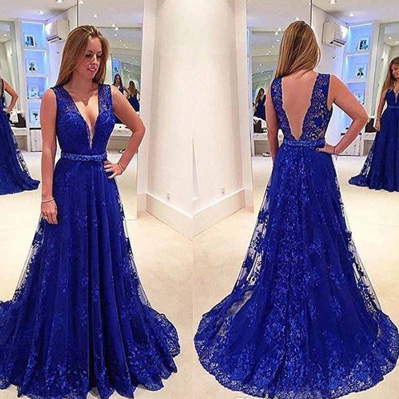 f8b5c4f4ceb7c Off-Shoulder Deep V Lace Prom Dress 2017 Plus Size Backless Sexy Blue Long Evening  Gowns For Women Celebrity Gowns A-Line Cheap