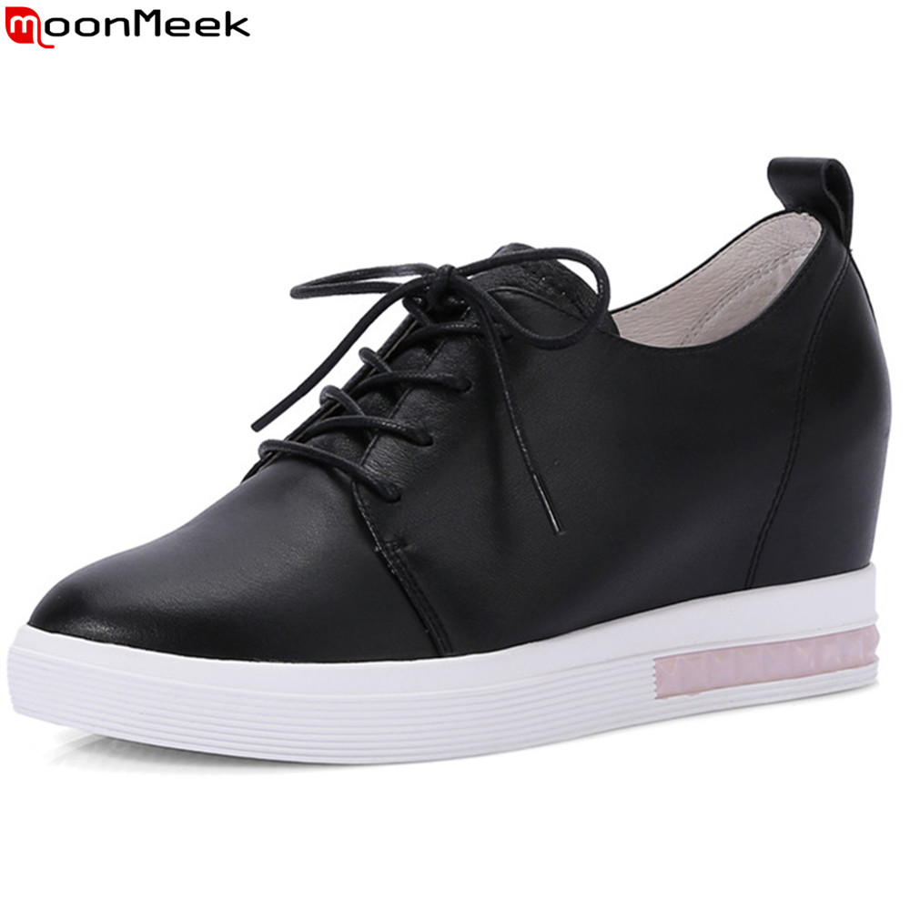 MoonMeek black white fashion spring autumn women pumps round toe genuine leather shoes lace up increased high heels shoe egonery shoes 2017 spring and autumn concise wedges butterfly knot pumps simple lace up sweet round toe women fashion high heels