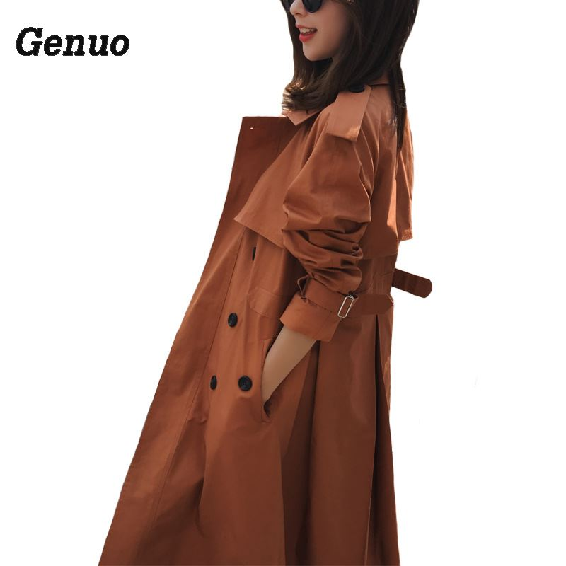 Genuo 2018 New Women Candy Color   Trench   Coat Adjustable Waist Autumn Spring   Trench   Windbreaker Women Khaki Coat Plus Size S-3XL
