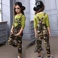 Chicas Camisetas de Camuflaje General de Algodón Casual Ropa de Niños Sets Activos Conjuntos De Ropa Infantil de Manga Larga T-Shirt + Global