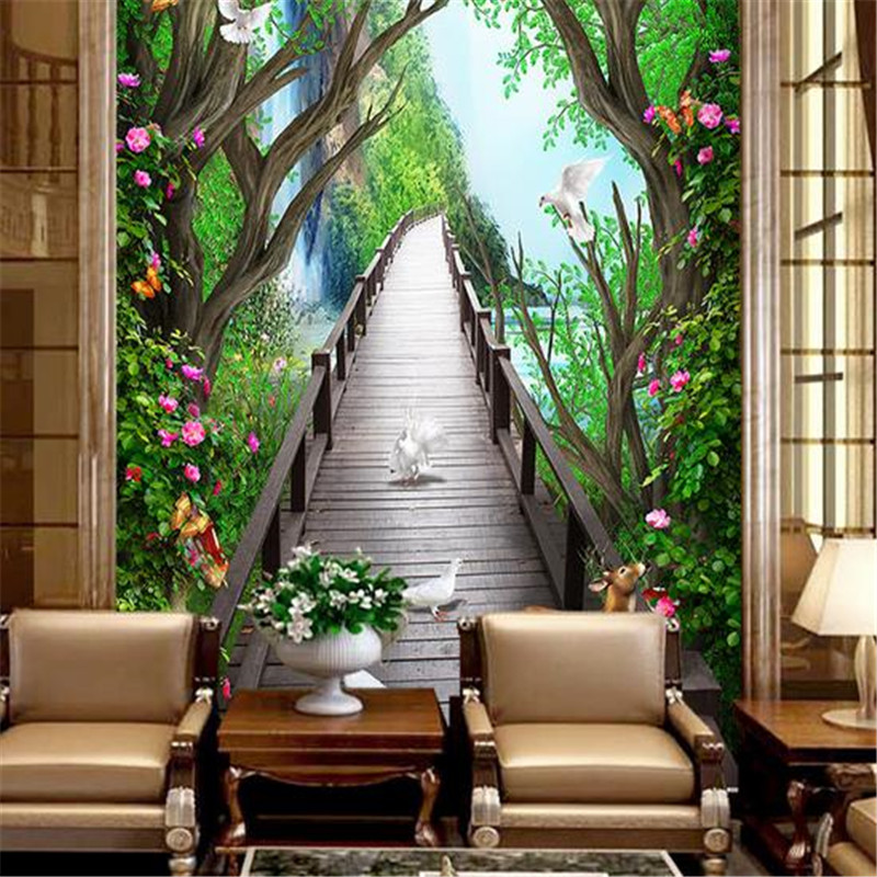 3D Nature Wallpapers Forest Tree 3D Murals Pink Flowers Wallpapers