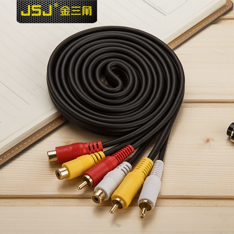 Jsj av audio and video cable red white rca lotus -top box connection line
