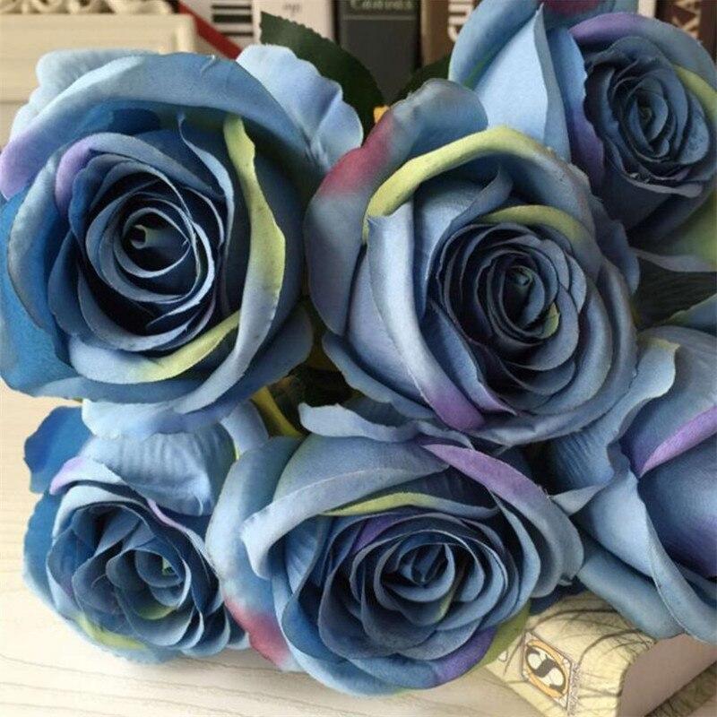 Flône 7 Têtes Artificielle Rose Bouquet De Fleurs Faux Soie Floral Simulation Rose Fleurs De Mariage Accueil Party Decoration Fleur Art dans Artificielle et Fleurs Séchées de Maison & Jardin