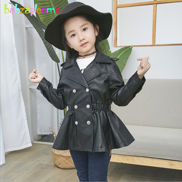 d42ad47823fe Spring Autumn Kids Wear Fashion Children Leather Jacket Little Girls ...