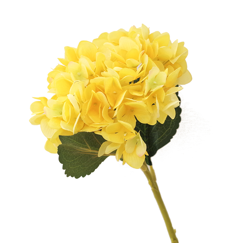 Yellow hydrangea with leaves 5pcslot display silk flower table yellow hydrangea with leaves 5pcslot display silk flower table decorative artificial flowers wedding party event free shipping in artificial dried mightylinksfo