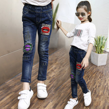 2017spring kids youngsters large women denims character slim full lengthy denim pants kids garments