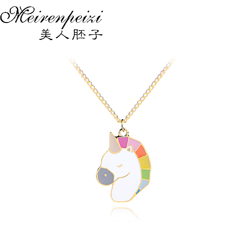 Rainbow Horse Hard Enamel Necklace Metal Charm Pendant Necklace Kawaii Animal Horse Magical Jewelry Gift for Women Men