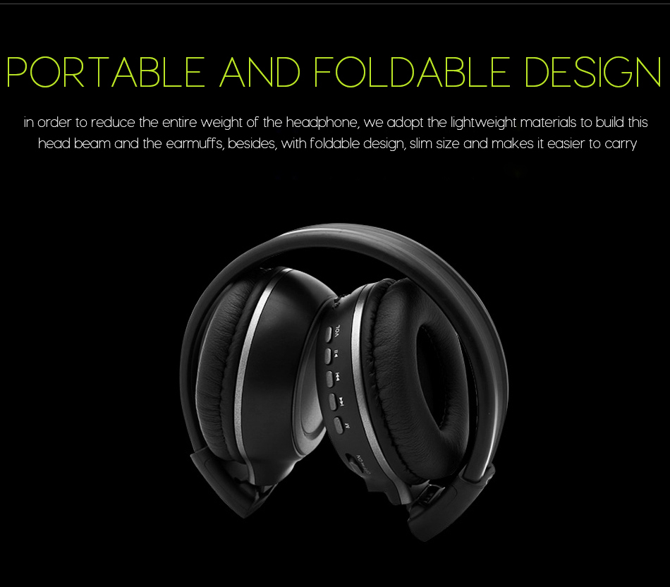 Image 3 - Wireless Headphones Bluetooth HiFi Stereo Headset With Microphone FM Radio Micro SD Card Play  LED Display Screen earphone-in Bluetooth Earphones & Headphones from Consumer Electronics