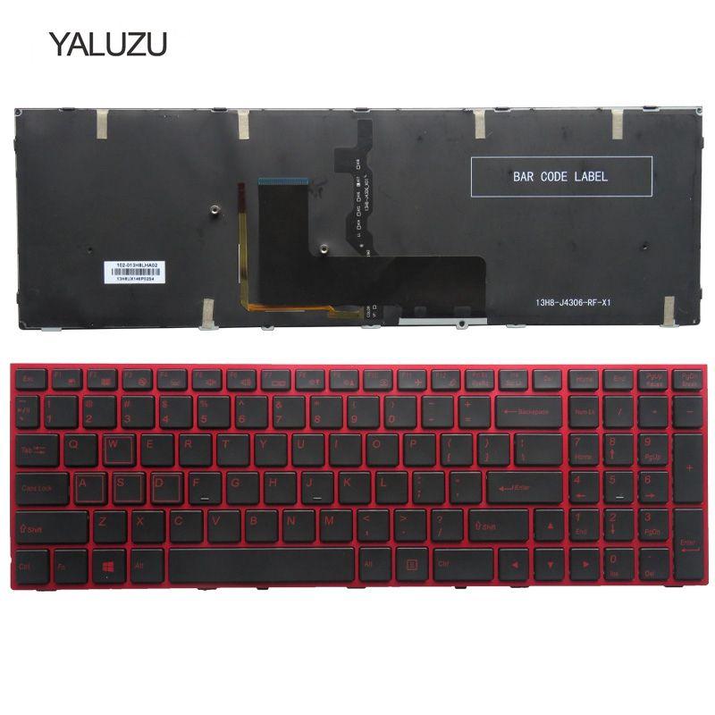 YALUZU NEW US Laptop Keyboard FOR Clevo P650 P670RE3 P670RG P650RE3 P650RE6 P650RG Red Keyboard US Color Backlit English Version