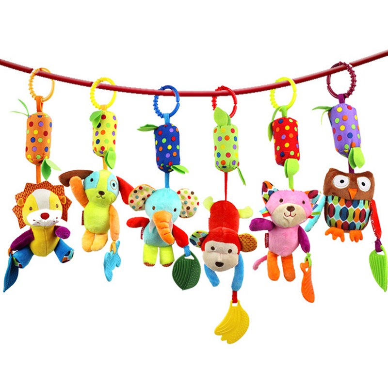 Animal Style Baby Rattles Hand Bell Toys Infant 0-12 Months Cribs Baby Teether Toys Infant Musical Rattles Mobile Rings