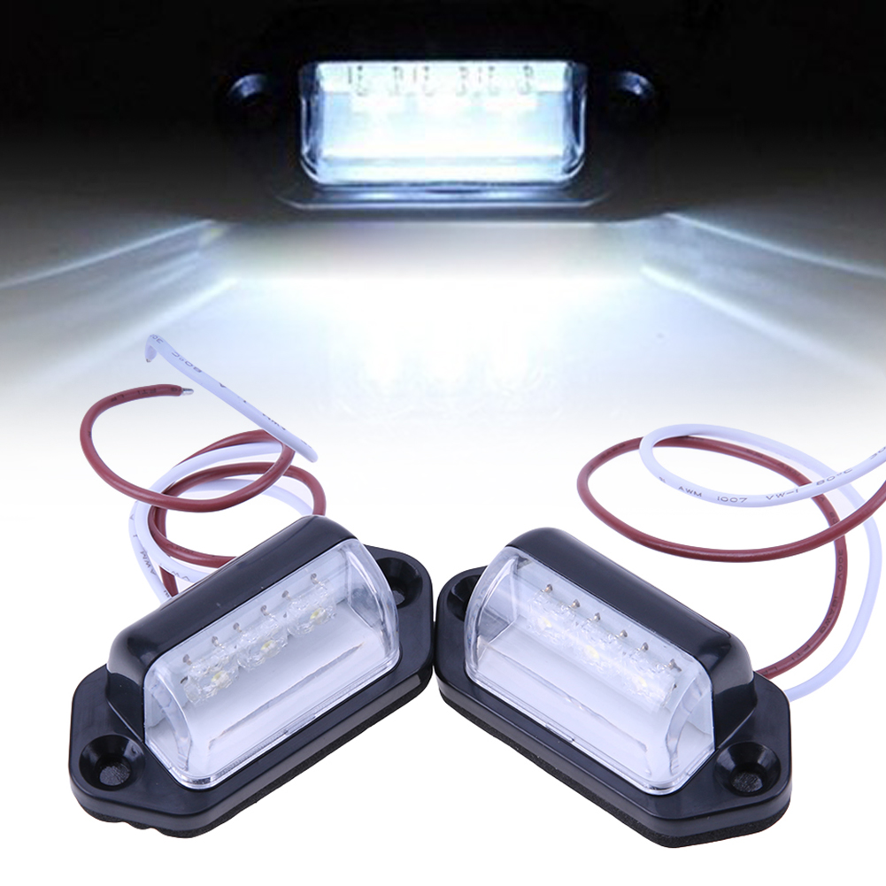 Newest 2pcs 10-30V 3X LED Lights Rear Number License Plate Lamp for Van Trailer  Universal Car Lights High Quality  цена и фото