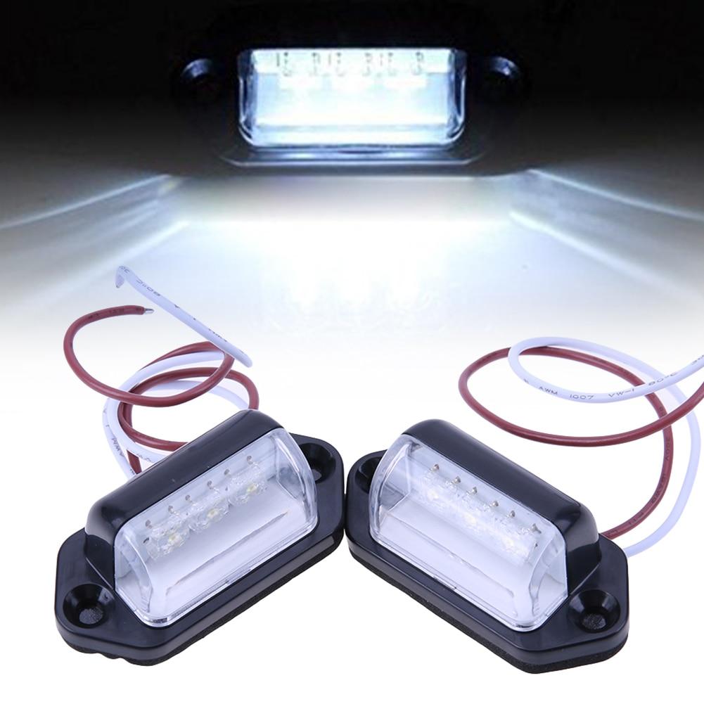 Newest 2pcs 10-30V 3X LED Lights Rear Number License Plate Lamp for Van Trailer Universal Car Lights High Quality