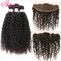 Shireen Kinky Curly Malaysian Remy Human Hair Bundles With Frontal Natural Color 3 Bundles Hair Weave