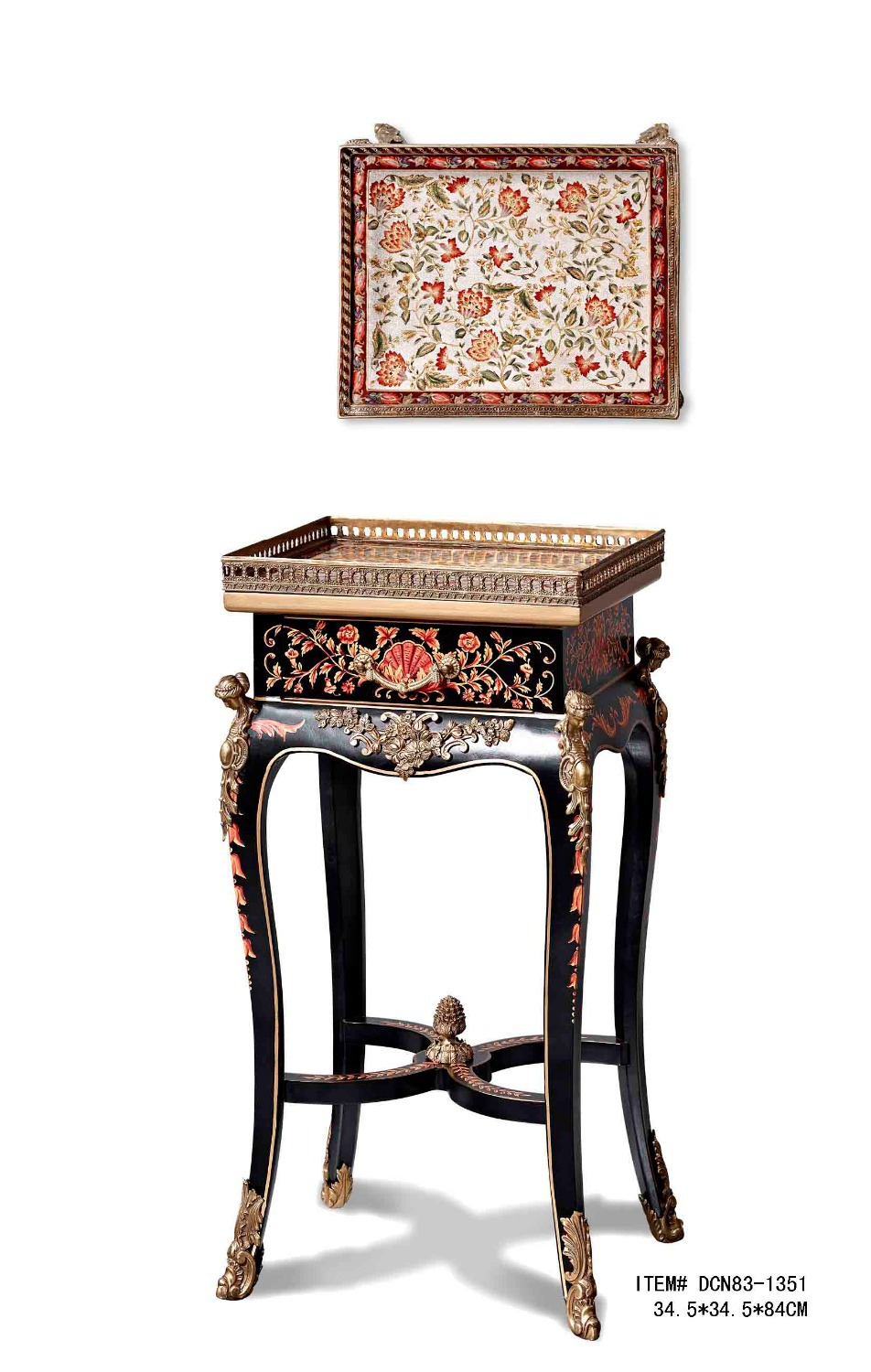 European Style Antique Porcelain and Wood Console Table Side Table Luxury Ceramic Decor