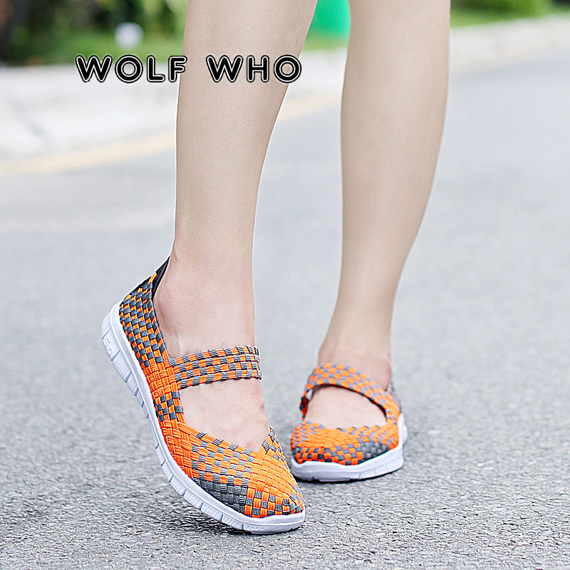 WOLF WHO Women Flats Shoes Fashion Sneakers Slip On 2019 New Woven Shoes Breathable Female Loafers Casual Lazy Shoes Mujer N-014