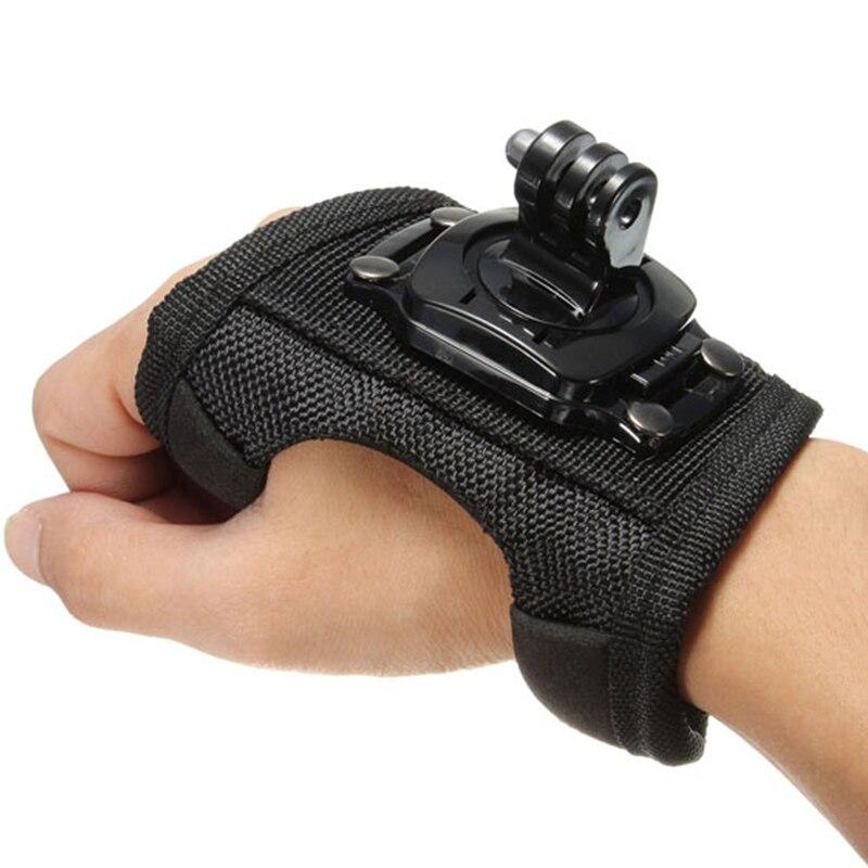 Glove Wrist Band 360 Degree Swivel Rotation Hand Strap Belt Tripod Mount For GoPro Hero 4/3+/3 Go Pro SJCAM SJ4000 SJ5000 GP127L nylon velcro hand band strap for gopro hero 4 3 3 wi fi remote control black deep pink