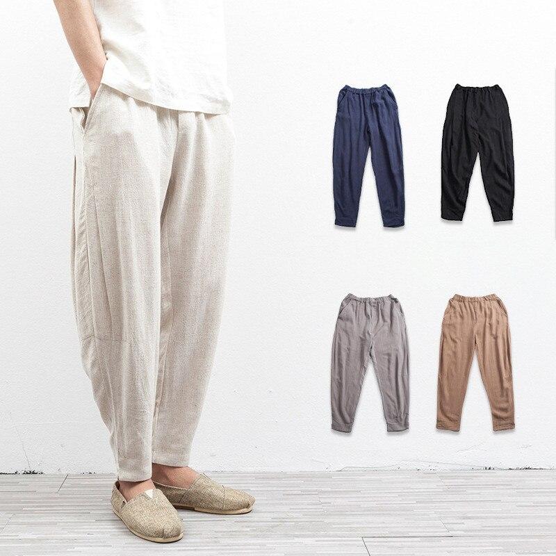 Harem Pants Linen Casual Pants Mens Trousers Casual Fashion Trousers Hip Hop Beach Male Sweatpants Man Loose Cotton Linen Beige