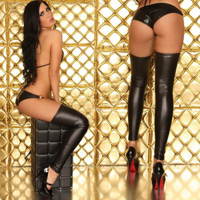 Hot Sexy Womens Nightclub Patent Leather Bra Stocking Set Seamless Panties Ladies Female Underwear