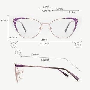 Image 2 - Metalen Brilmontuur Vrouwen Paars Mode Brillen Bril Kat Bril Frame Voor Vrouwen 2019 Nieuwe Model # TF2199C3