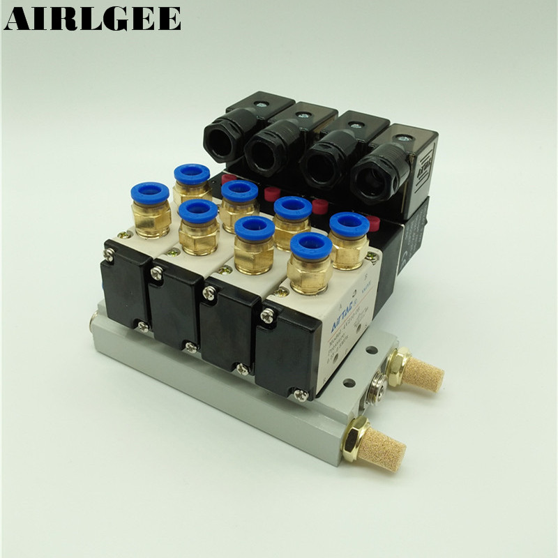 High quality 4V210-08 DC 24V Quadruple Solenoid Valve Mufflers 6mm Quick Fittings Base Set Free shipping free shipping triple solenoid valve 4v210 08 2 position base muffler connect 6mm 8mm quick fitting valves set 1 4 bsp