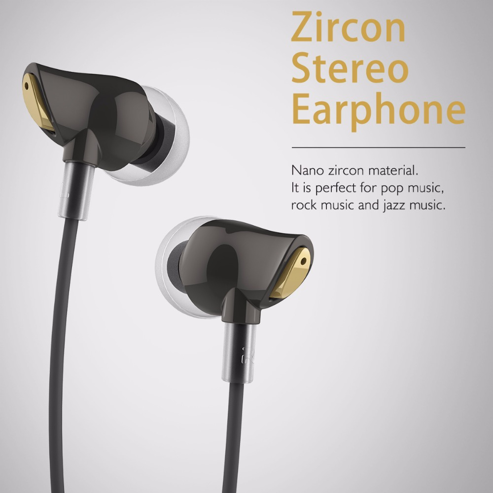 Rock RAU050 Zircon Stereo Earphone In-Ear Headset with 3.5mm Earplugs Microphone Bass Earphones Sport for Smartphone PC F21641