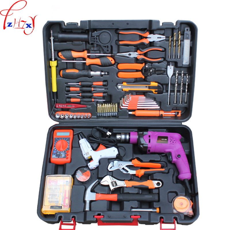 New Multi-functional hardware toolbox for household tools electrician maintenance tool group sets the electric drill 220V 1PC impact electric drill multi functional combination of electric screwdriver toolbox set hardware electrical toolbox