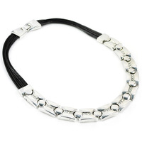 Womens Elegant Silver Chunky Bib Wedding Bridal Necklace, Leather Cord with Stainless steel CZ Crystal Choker Necklace NL1716