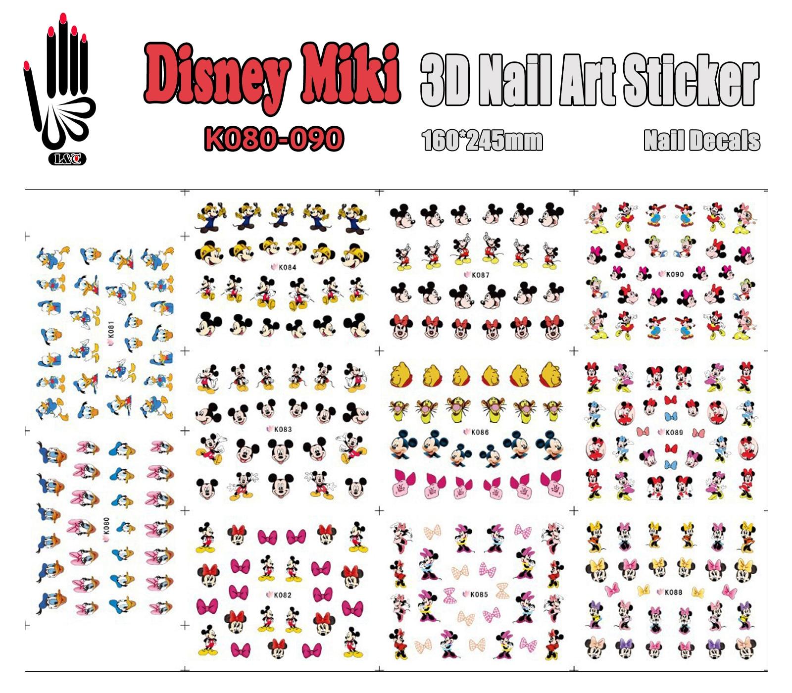 3D Beauty Nail Sticker K080-090 Cartoon Mickey Bear Duck Mouse 3D Nail Art Sticker Decal For Nail Large Piece(11 DESIGNS IN 1) nail art large piece yb529 540 12 designs in 1 cartoon pet hello kitty nail art water transfer sticker decal for nail