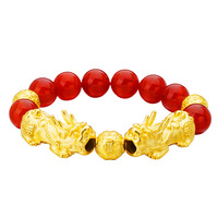 Couples Exquisite Bracelets Natural Stone Yoga Beaded Bracelets for Men Women Friend Gifts Charm Real 24K gold Lucky bracelets