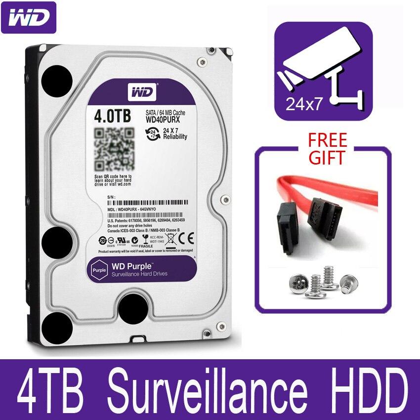 """WD фиолетовый 4 ТБ внутренний жесткий диск наблюдения 3,5 """"64 M кэш SATA III 6 ГБ/сек. 4T 4000GB HDD HD Жесткий диск для CCTV DVR NVR"""