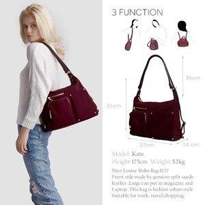 Image 2 - Nico Louise, женская сумка на плечо из натуральной замши, Женская Повседневная сумка из нубука для отдыха, сумка хобо, сумка мессенджер с верхней ручкой, Sac