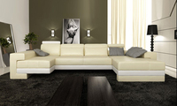 2013 New Modern Design U Shaped Corner Genuine Leather White Sofas LC9102 2