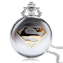 2016 Νέα Άφιξη Κλασικό ρολόι τσέπης Comic Superman με χαλαζία Σημαντικό δώρο για άνδρες γυναίκες Relogio De Bolso