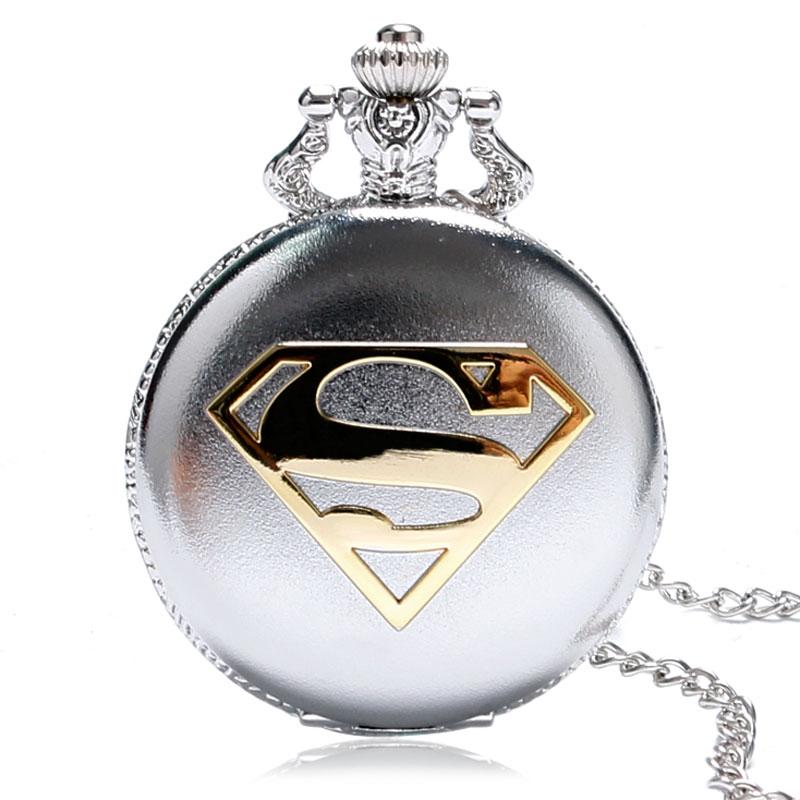 2016 Yeni Varış Klasik Comic Superman Kuvars Pocket Watch Erkekler - Cep Saatleri - Fotoğraf 1