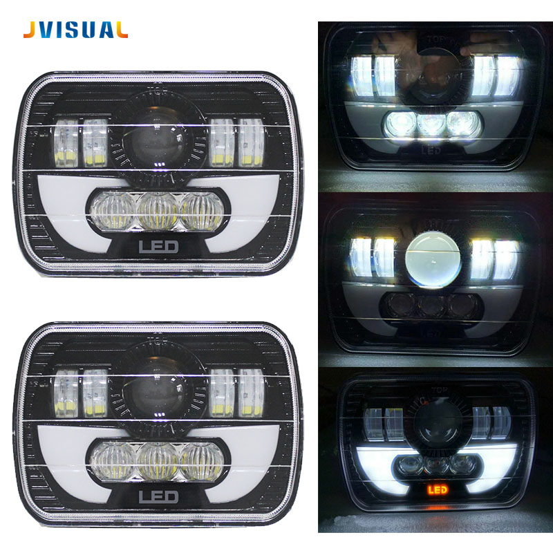 5x7 Inch Car Auto DRL Led headlamp 5x7 Led Truck Headlight 5x7 Hi/Lo beam Square Led headlight For Jeep Cherokee XJ yy 3 0 inch bi led projector lens headlight 35w 6000k hi lo beam auto lighting headlamp car styling car led headlight auto parts