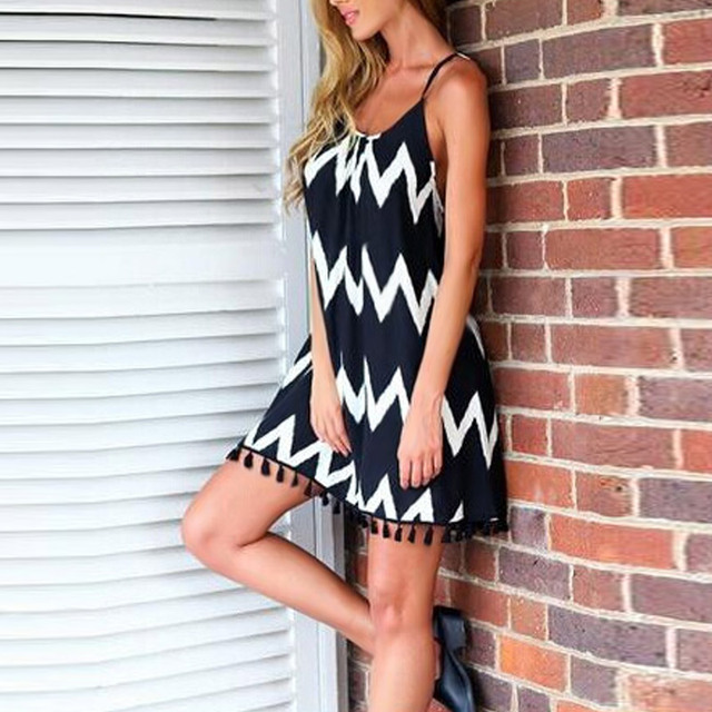Black White Chiffon Backless Mid Dress with Tassel Hem  1